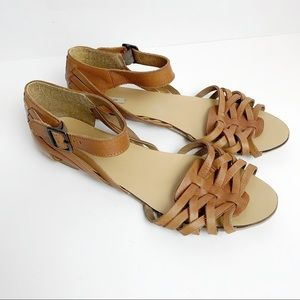 Kimchi Blue Brown Leather Sandals